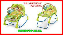 Детский шезлонг-качалка напольная с регулируемой спинкой, зеленый цвет. Дитячий шезлонг  Pliko PK-306-5