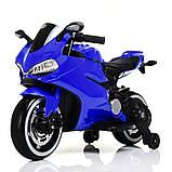 Дитячий електромобіль мотоцикл з підсвічуванням коліс Bambi M 4104EL-4 синій, фото 2