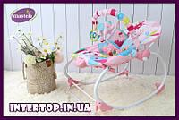 Шезлонг-качалка детский Mastela с регулируемой спинкой 6921 розовый. Кресло-качалка от рождения до 18 кг