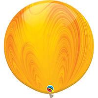"""Куля повітряна Qualatex Супер Агат Жовтий Yellow 30""""(76см)"""