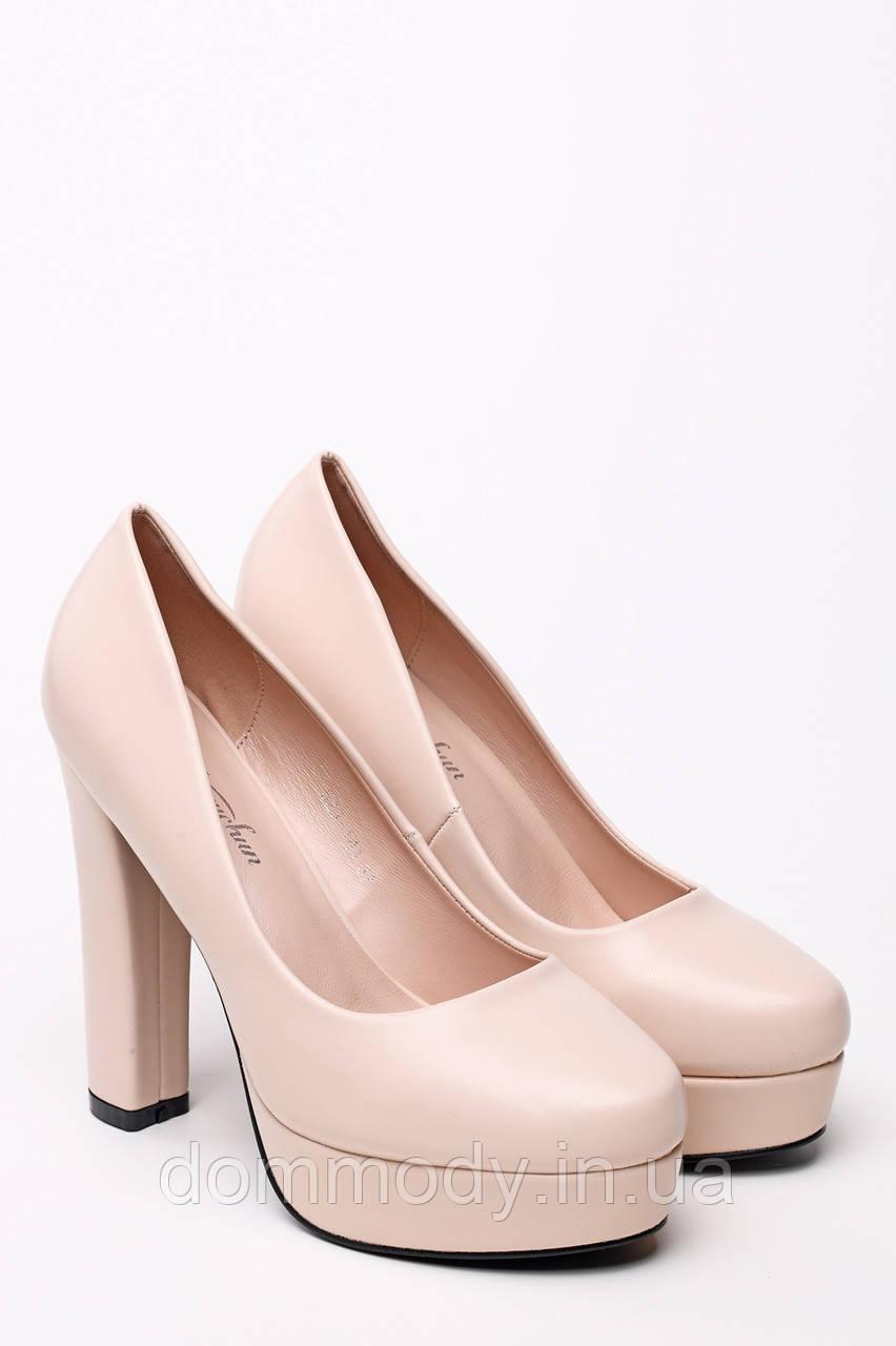 Туфли женские из бежевой эко-кожи