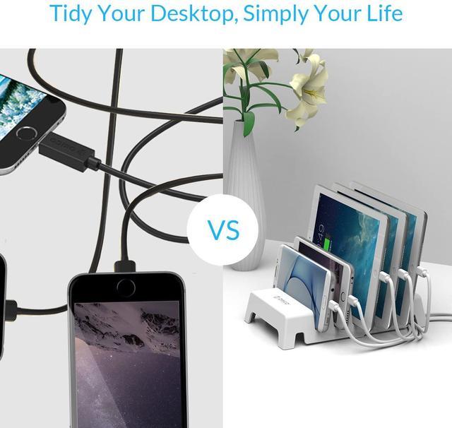 Универсальная настольная подставка держатель для телефонов и планшетов на 5 слотов Orico DK305 (Белая)