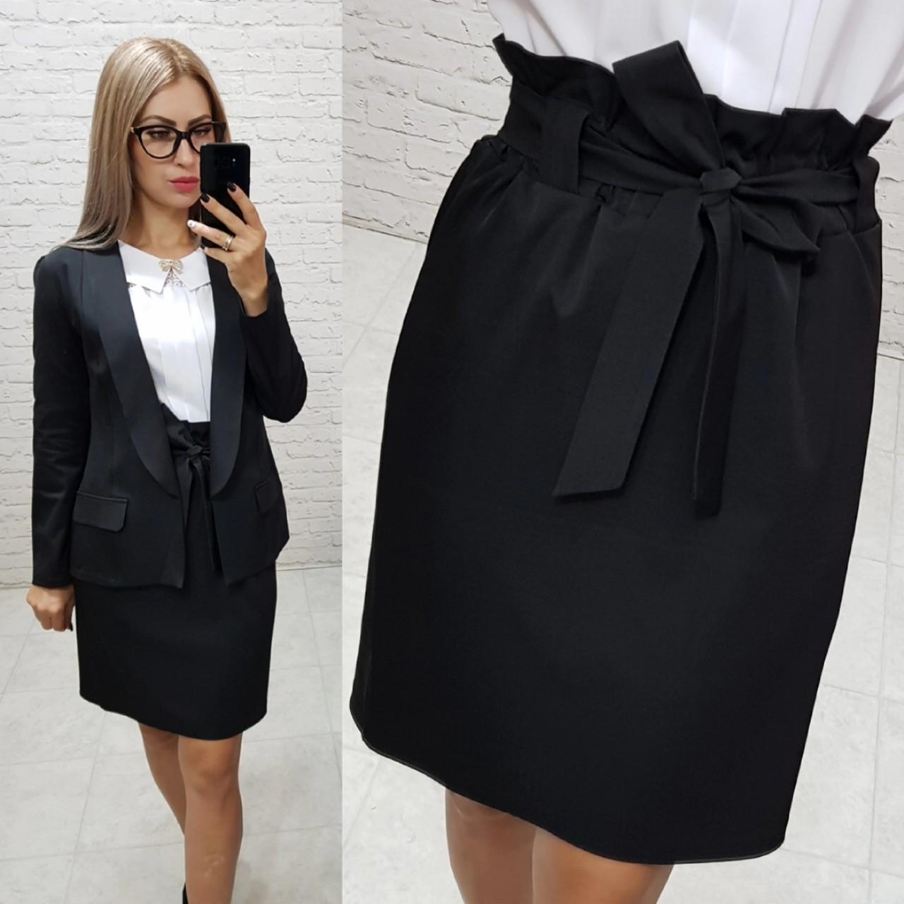 Костюм двойка Khan classic арт. 2 (жакет + юбка) черный