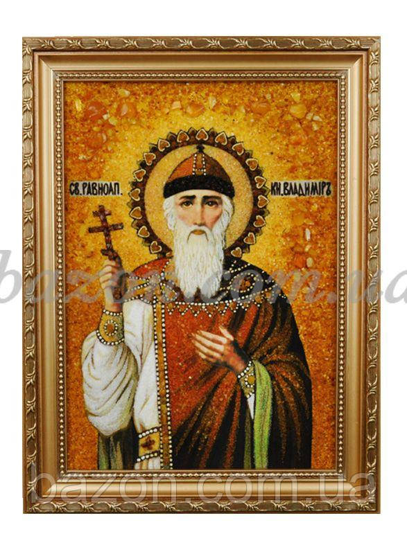 """Икона из янтаря """"Владимир Святой Равноапостольный князь"""""""