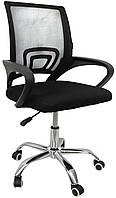 Компьютерный стул офисный на колесиках офисное кресло компьютерное с вентилируемой спинкой черное