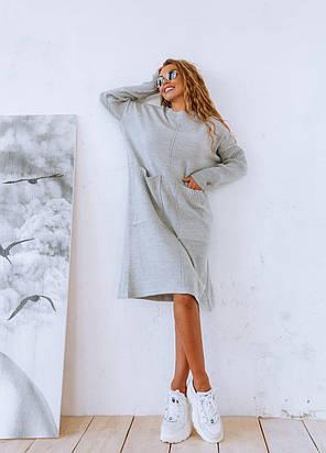 Вязаное платье свободное с карманами оверсайз, фото 2