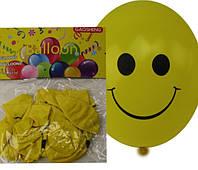 """Воздушные шары 12B-4 """"Смайлик Желтый"""" 2,8г 31см набор10шт уп12"""