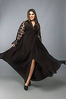 Платье на запах вечернее платье длинное черное софт рукав кружево размер от 48 до 64