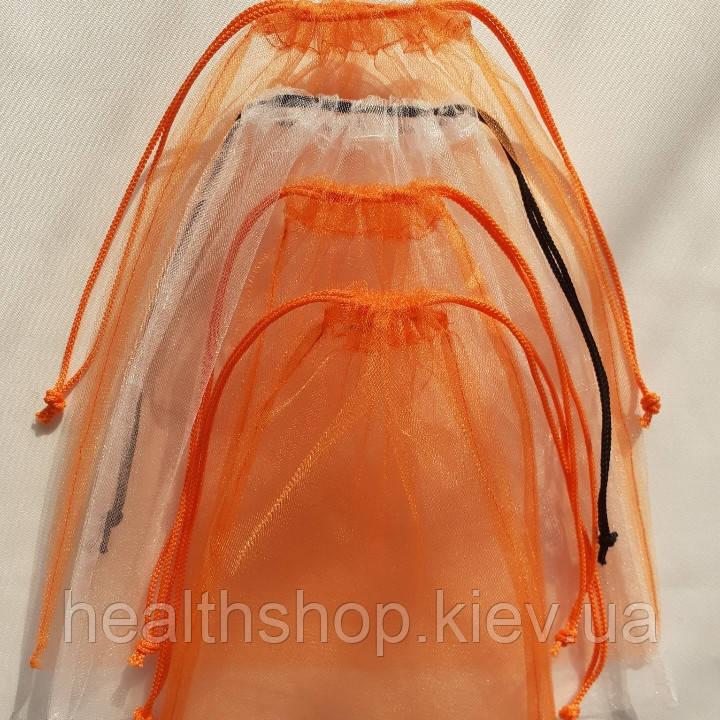 Многоразовые мешочки для продуктов, овощей и фруктов, эко мешочки, фруктовки (4 шт), бело оранжевый