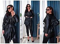 Женское стильное кожаное пальто свободного фасона на запах с поясом размер:46-48,50-52,54-56,58-60