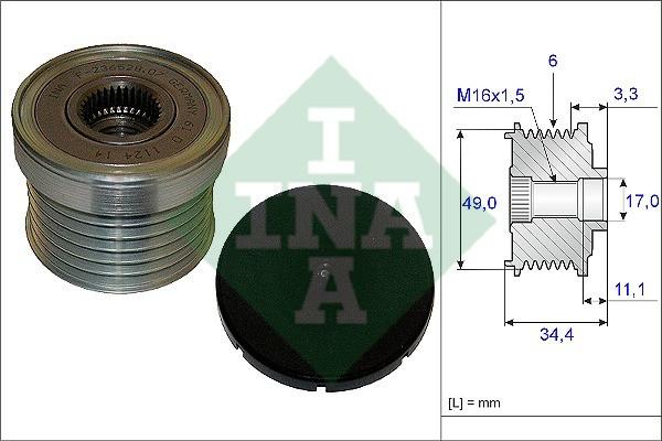 Шкив генератора с обгонной муфтой (Ina) (арт. 535 0183 10), rqb1qttr