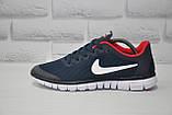 Мужские кроссовки в стиле Nike Free Run 3.0 для бега синие с красным, фото 3