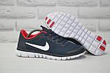 Мужские кроссовки в стиле Nike Free Run 3.0 для бега синие с красным, фото 2