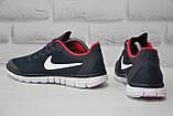 Мужские кроссовки в стиле Nike Free Run 3.0 для бега синие с красным, фото 5