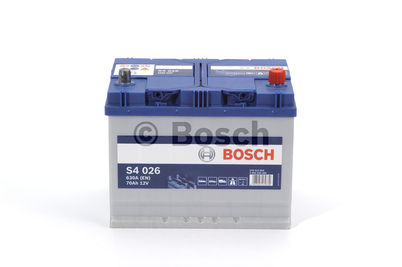 Аккумулятор   70Ah-12v BOSCH (S4026) (261x175x220),R,EN630(Азия) (арт. 0092S40260), rqm1qttr