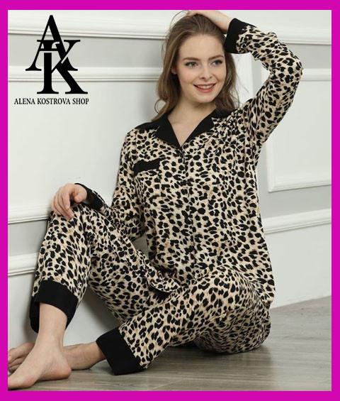 Женская сатиновая пижама Le'Maries beauty lion с длинным рукавом