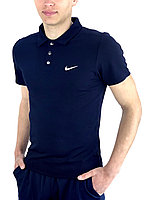 Футболка поло мужская Nike темно-синяя | Поло мужское Найк хлопковое повседневное ЛЮКС качества