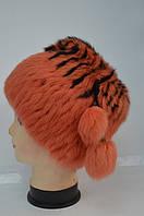 Женская меховая шапка кубанка - оранжевый окрас