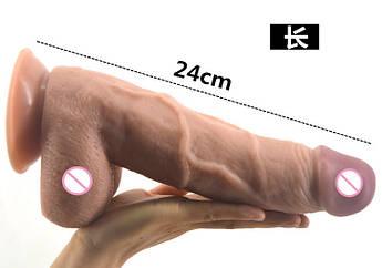 Большой гибкий фаллоимитатор из кибер кожи на присоске 25*5 см