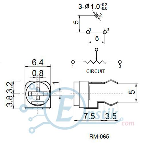 Подстроечный резистор 20 кОм, горизонтальный, RM065