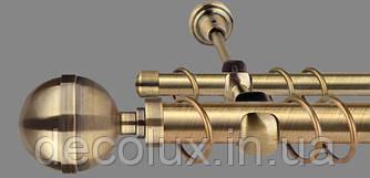 Карниз для штор двухрядный металлический 25 мм, Калисто Антик