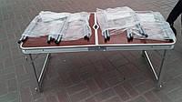 Туристический усиленный складной стол + 4 табуретки Folding Table. 120х60х55/60/70 см, для пикника