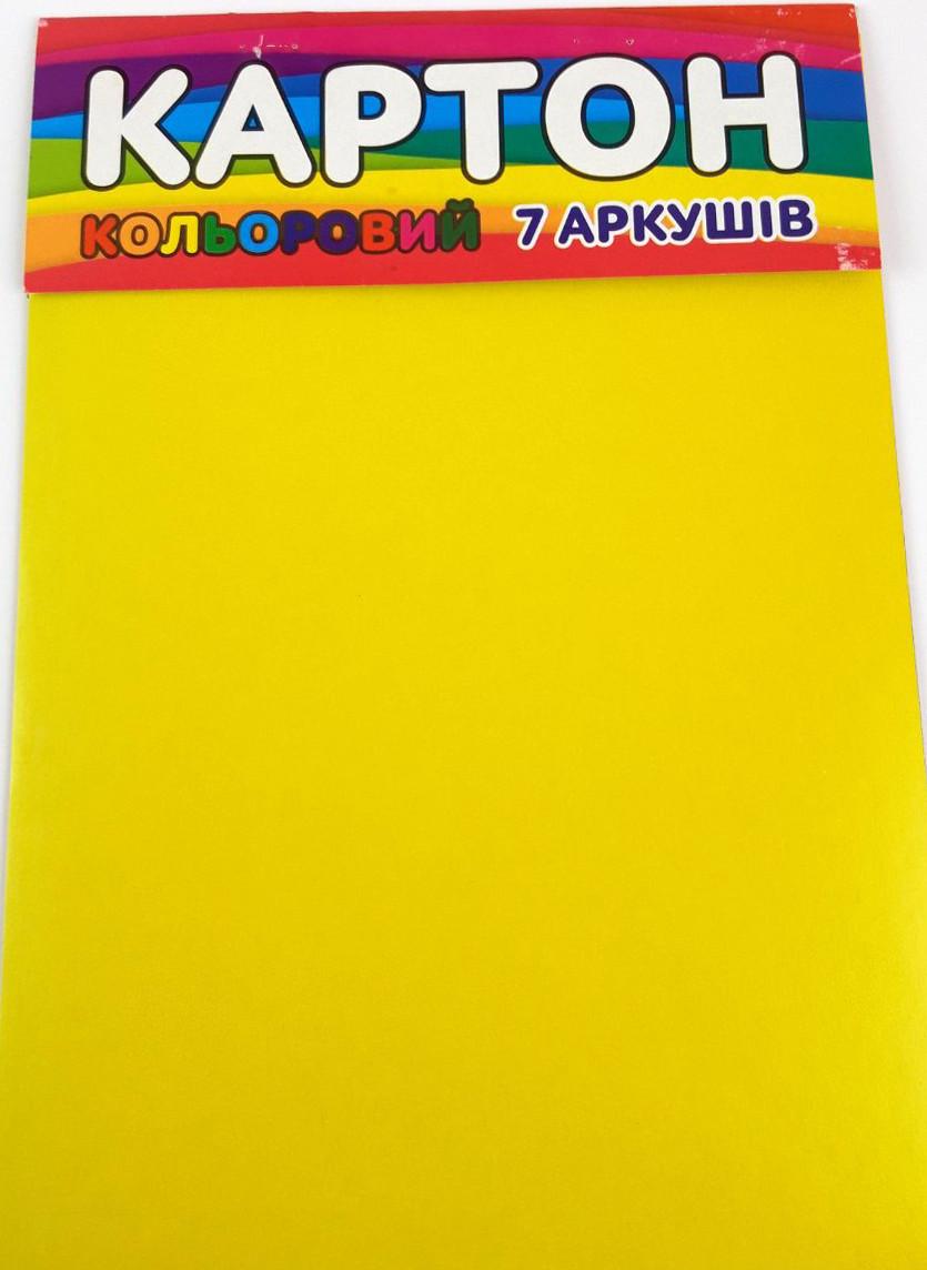 """Картон A4 """"Колорит-Тон КЦ-7 кольоровий крейдований (7 листів/7 кол.)"""