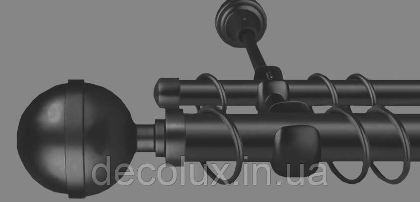 Карниз для штор дворядний металевий 25 мм, Калісто Чорний