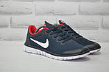 Мужские кроссовки в стиле Nike Free Run 3.0 для бега синие с красным, фото 6
