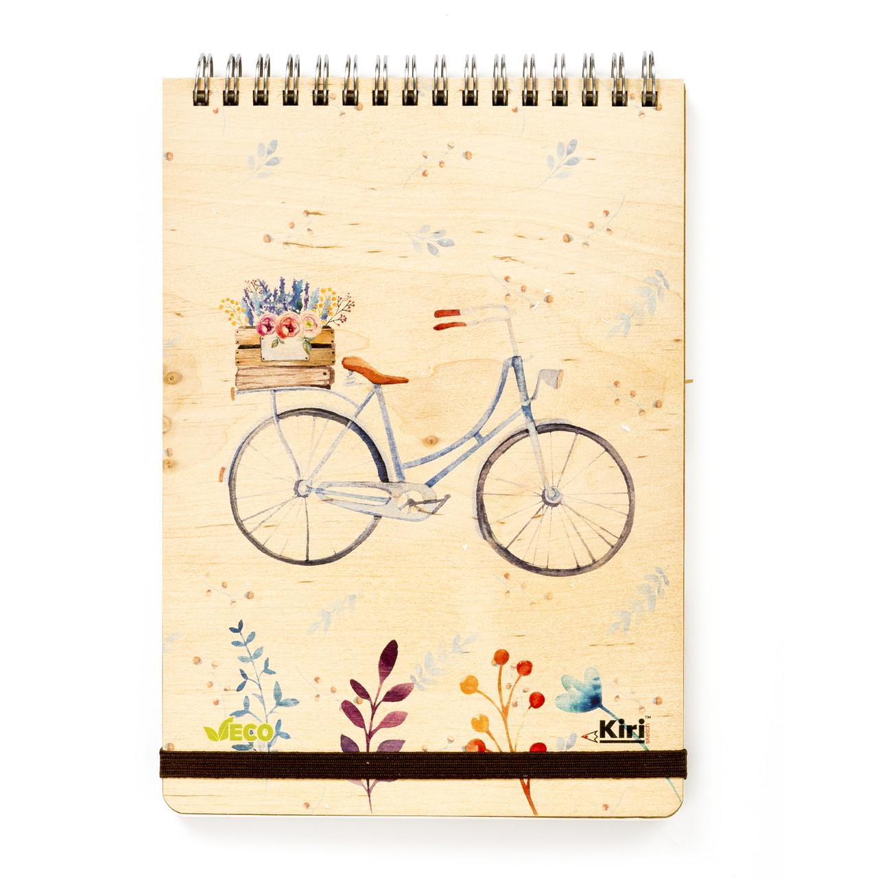 """Эко Блокнот в клетку А5 """"Велосипед"""", деревянный на пружине"""