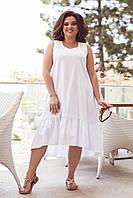 Сарафан женский белый лен с оборками большого размера