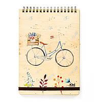 """Эко Блокнот в линию А5 """"Велосипед"""", деревянный на пружине"""