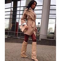 Пальто кашемир бежевое обычное с поясом