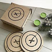 Деревянные костеры с логотипом под заказ (подарочный набор из 3-х штук)