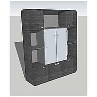 Шкаф стекло AT-602 (1620х420х1640) Венге серый/черный/графит