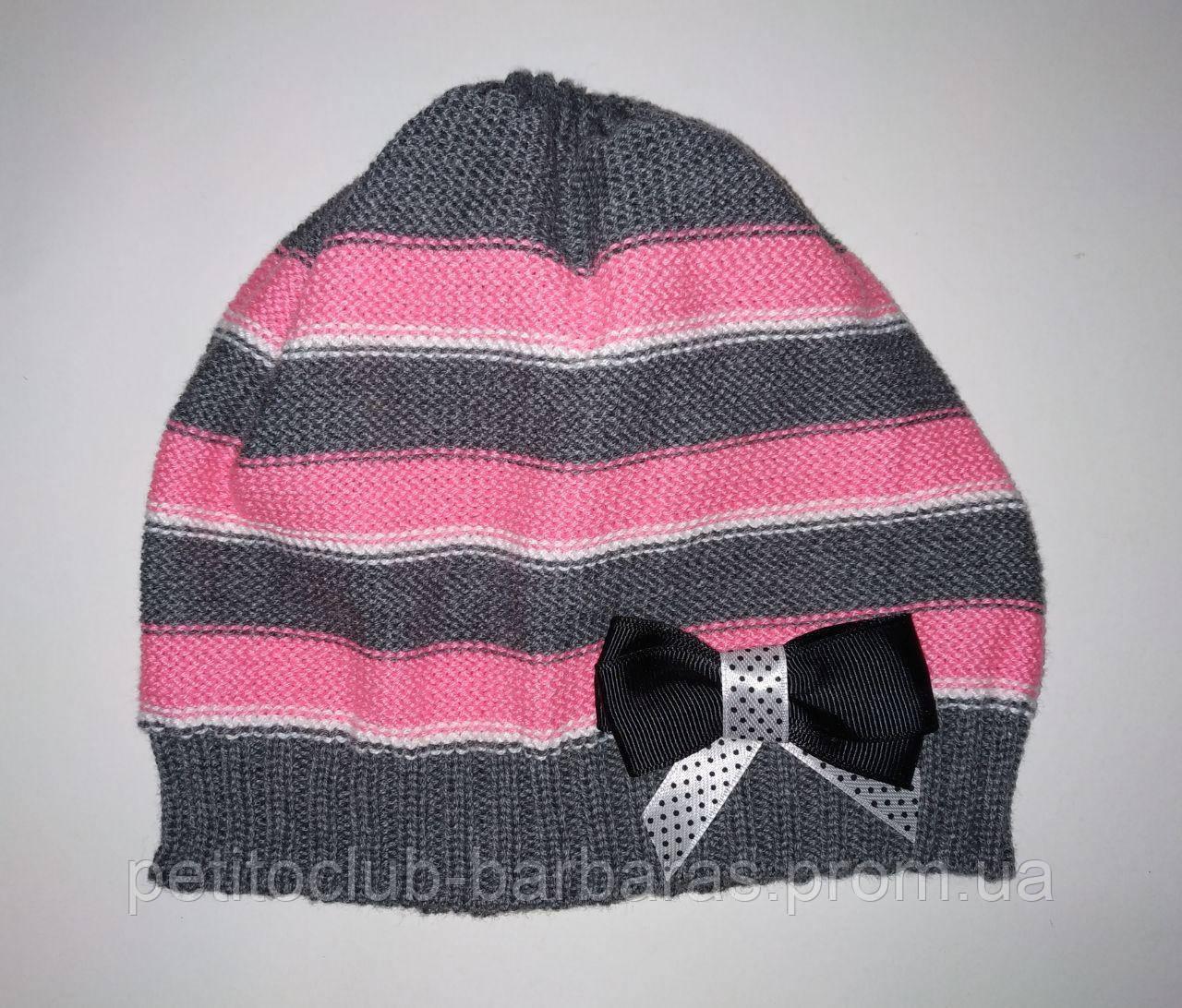 Дитячий демісезонний шапка трикотажна в смужку з бантиком для дівчинки (AJS, Польща)