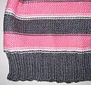 Дитячий демісезонний шапка трикотажна в смужку з бантиком для дівчинки (AJS, Польща), фото 3