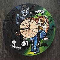 Большие круглые цветные настенные часы «Джунгли»