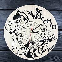 Бесшумные детские настенные часы из дерева «Пиноккио»