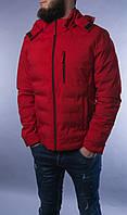 Мужская красная куртка тёплая спортивная с капюшоном сезон:Весна/Осень Размер: М,L