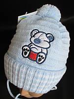 Детские теплые шапочки с отворотом.