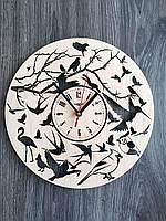 Круглые настенные часы из дерева «Птички»