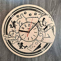 Детские часы на стену из натурального дерева «Том и Джерри»