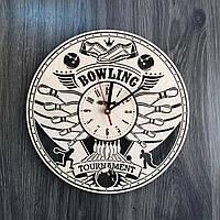Деревянные большие часы на стену «Боулинг»