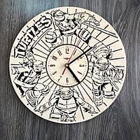 Круглые оригинальные настенные часы из дерева «Черепашки-ниндзя»