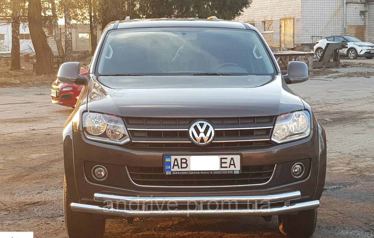 Защита переднего бампера (ус двойной) Volkswagen Amarok 2010-2015