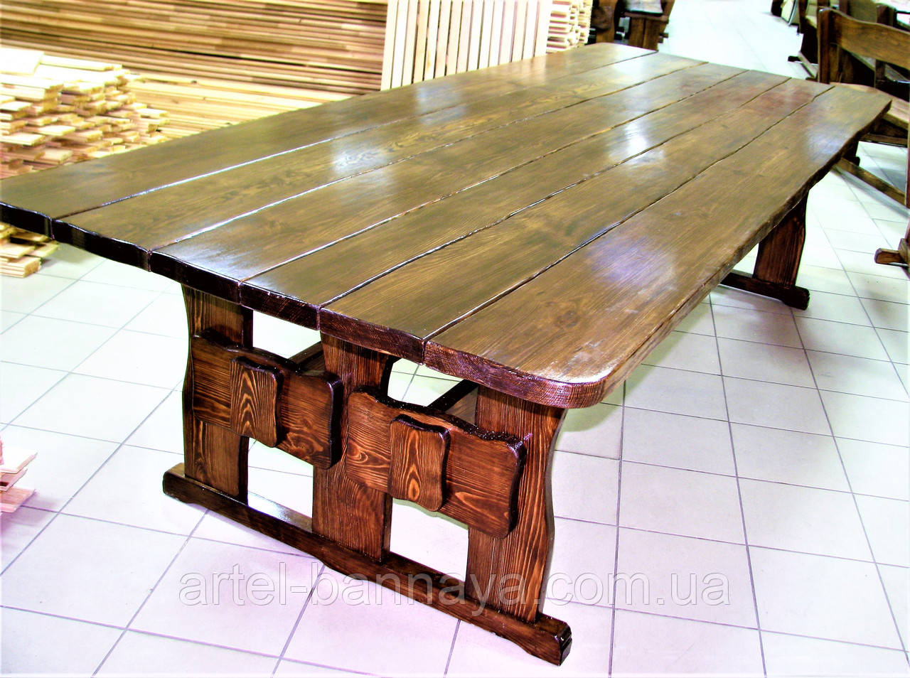 Стол деревянный для кафе, баров, ресторанов 3000*1200 от производителя