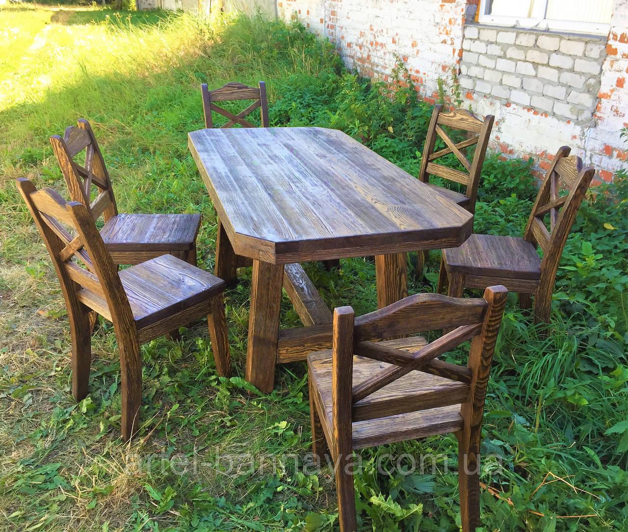 Мебель под старину в беседку из массива состаренного дерева от производителя