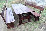 Мебель деревянная. Комплект стол 2500х1000 + 2 лавки. Покрытие итальянский масло-воск от производителя, фото 3