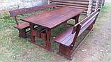 Мебель деревянная. Комплект стол 2500х1000 + 2 лавки. Покрытие итальянский масло-воск от производителя, фото 5